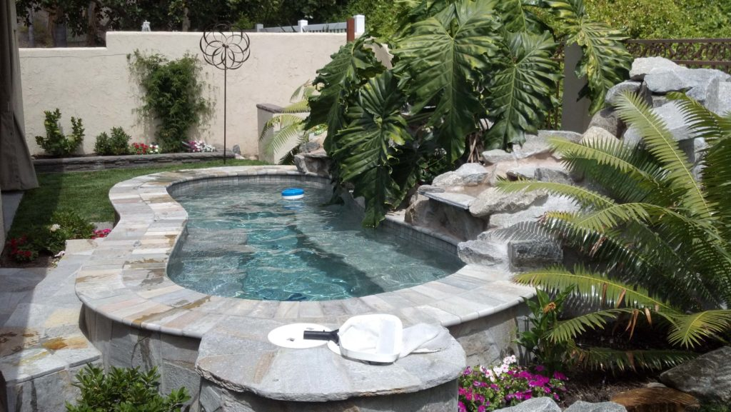 Backyard Spa with Water Feature